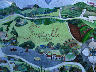 Mural showing a map of Forestville, California