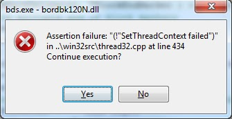 How to fix Delphi Assertion failure using Windows 7 64bit | My
