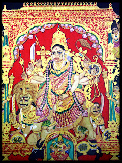 Traditional Mysore Paintings by Shobana Udayasankar, Devi Chamudeshwari, Indian Art Scene