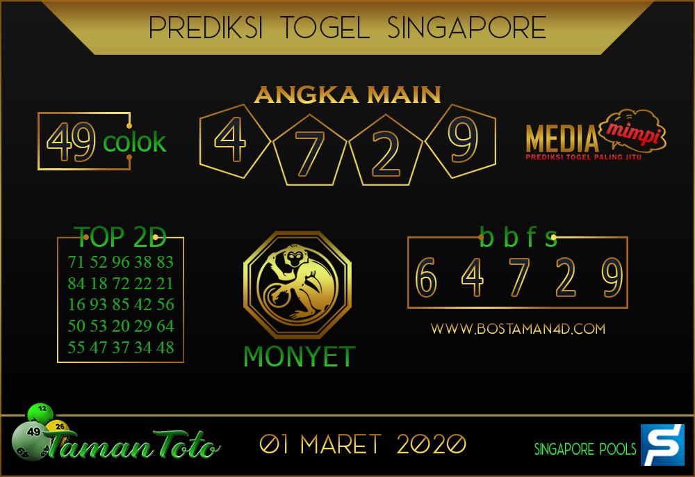 Prediksi Togel SINGAPORE TAMAN TOTO 01 MARET 2020