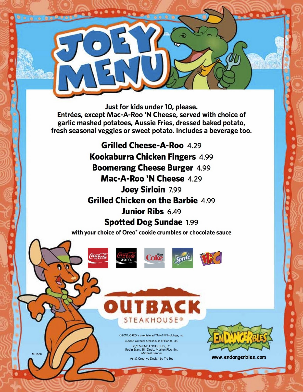 New Outback Kids Menu