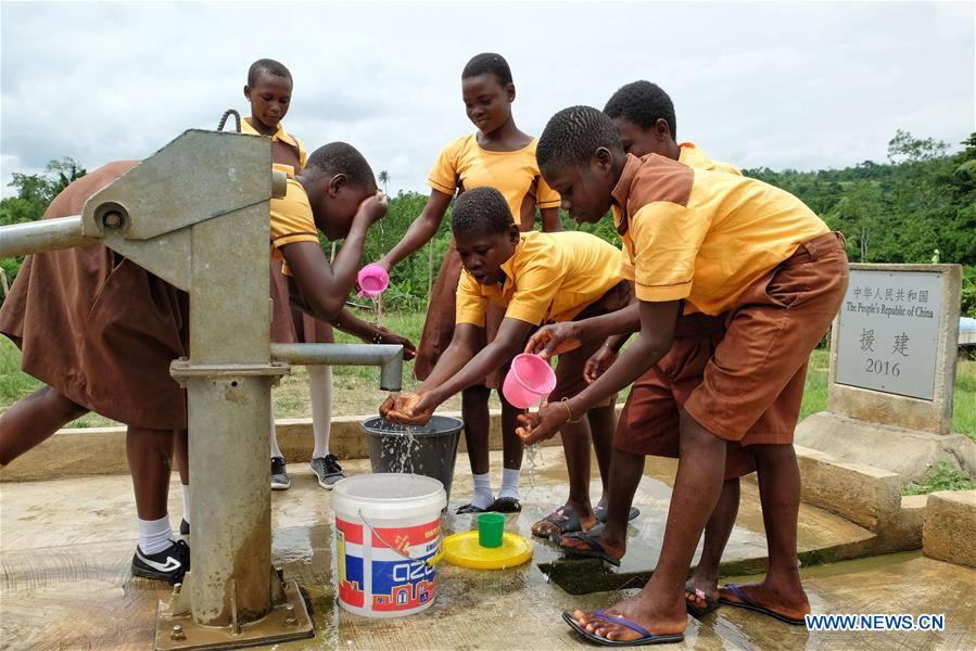 clean water brought to rural areas in Ghana by China-aided boreholes