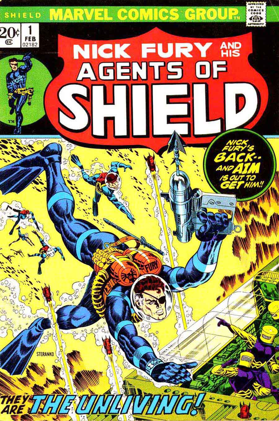 Shield v1 #1 marvel bronze age comic book cover art by Jim Steranko
