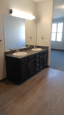 Bathroom sinks in Andrews Hall