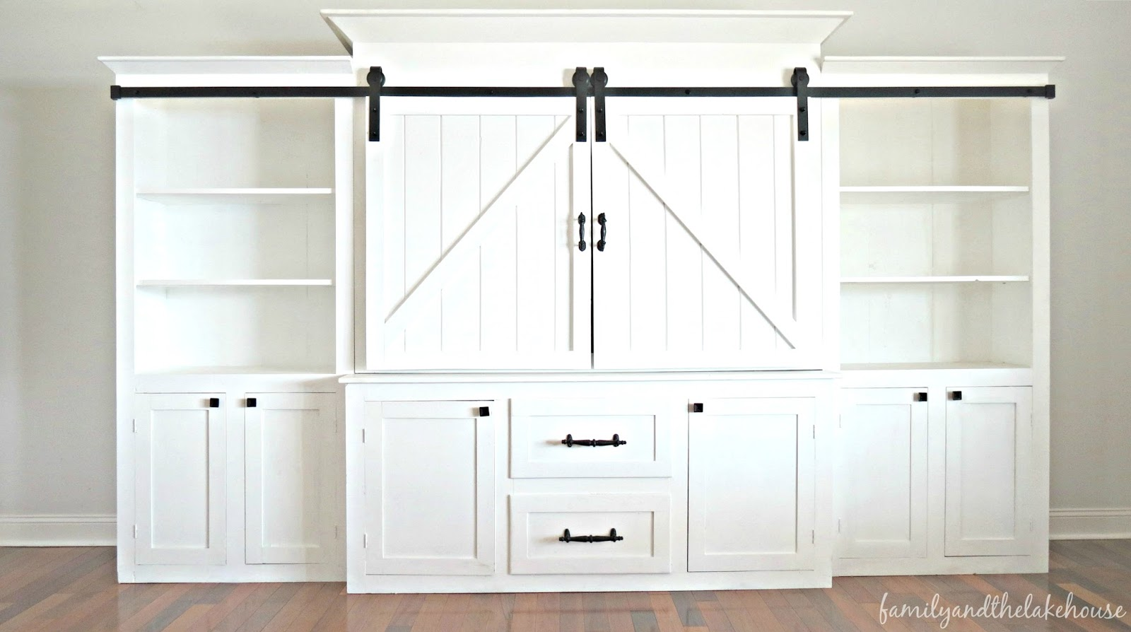 barn door entertainment center Over at Marie's: She's Here   Welcome Home, Sliding Barn Door  barn door entertainment center