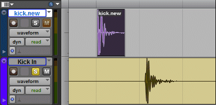 Selected drum sample in Pro Tools