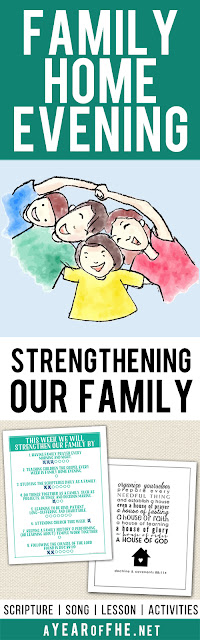 A Year of FHE // a free LDS Family Home Evening all about your FAMILY! Teaches kids about the different roles that each family member plays and how each individual family member has an important part in making the family strong! Includes a scripture, song, lesson, activity, and free printables! Your FHE is ready, just CLICK, PRINT, and TEACH!