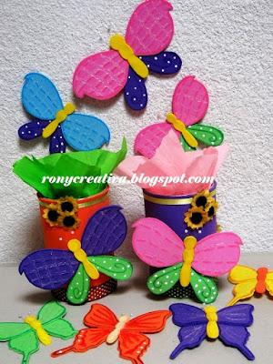 Ronycreativa: cómo hacer mariposas de foamy o goma eva ...