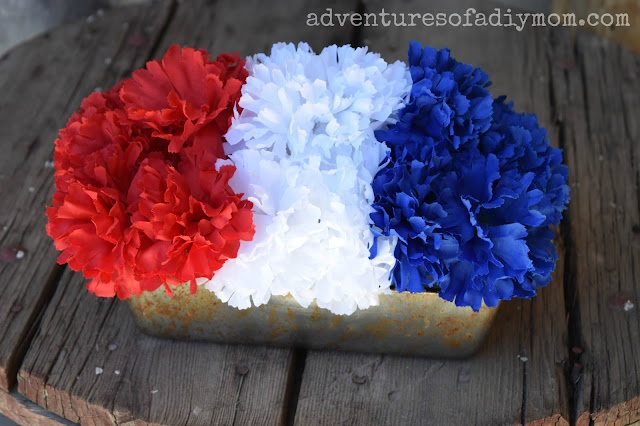 red white blue flowerpot in a bread pan
