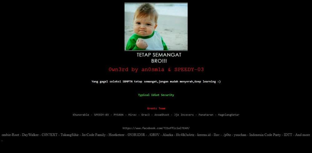 Dua Subdomain Situs SBMPTN Di Hack