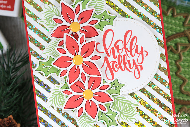 Holly Jolly Christmas Card by Juliana Michaels featuring Therm O Web and Gina K Designs Holly Jolly Stamp Set, Fancy Foils and Foil Mates