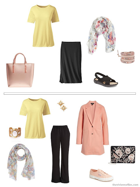 wearing a pastel yellow print tee shirt with black