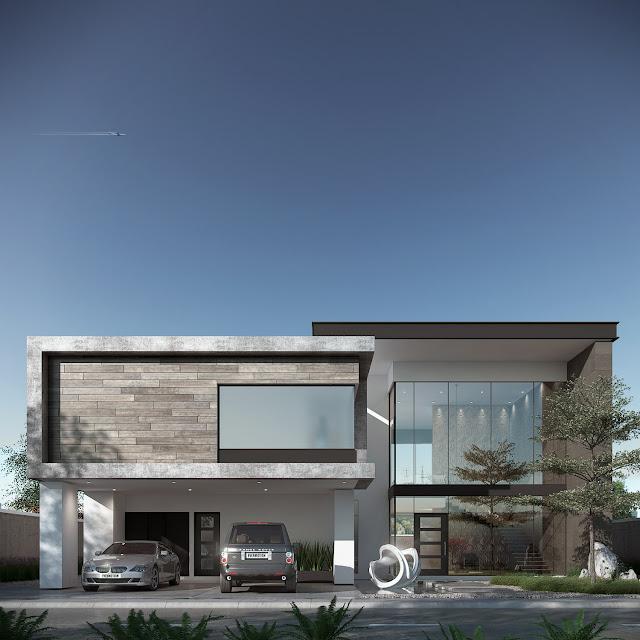 Fachada minimalista moderna.
