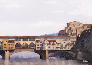 イタリア、フィレンツェの橋、ポンテベッキオの水彩画。アルノ川の川面に映り込む古い街並み。