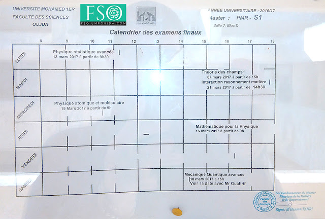 Master PMR S1 : Calendrier des examens finaux