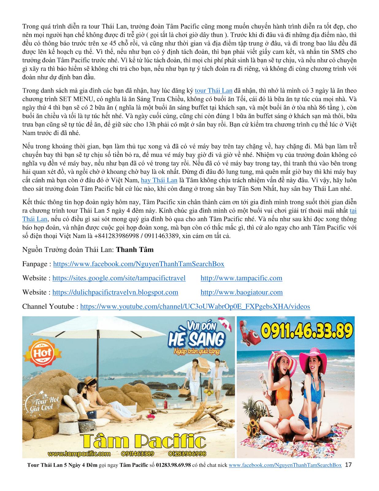 Báo giá tour du lịch Thái Lan 5 ngày 4 đêm siêu rẻ