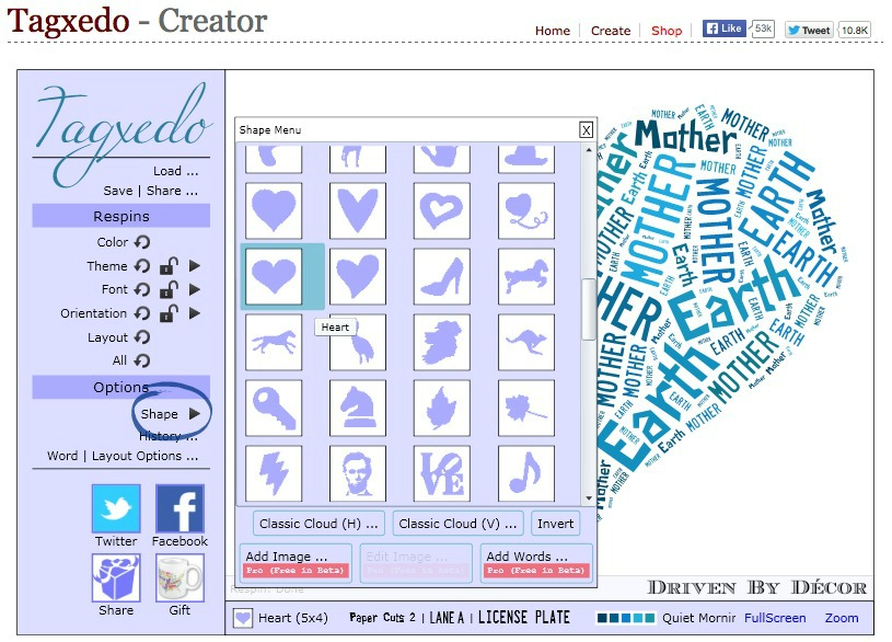 Creating personalized word cloud art with tagxedo driven for Personalised word art template