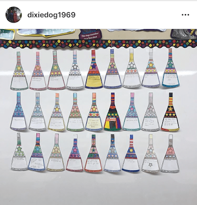 I enjoy following Ms. Collins on Instagram. Here is a photo of her students' matholution math pennants