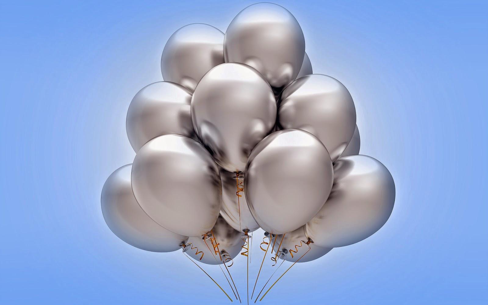 zilveren verjaardagsballonnen