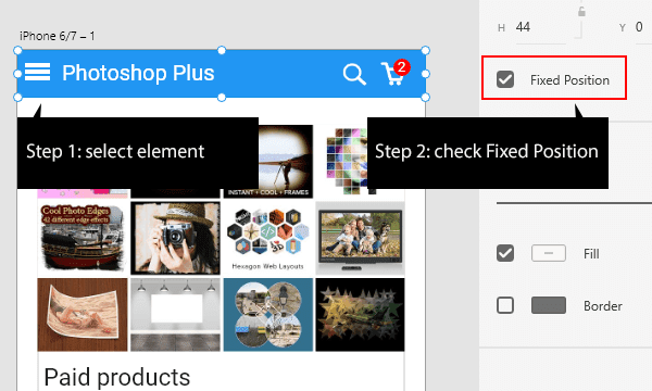 Set fixed position for selected element in Adobe XD