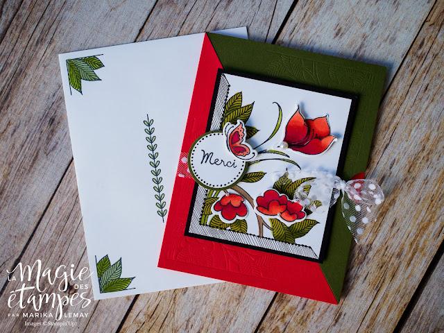 Carte de remerciement Stampin' Up! faite avec l'ensemble d'étampes Serene Garden