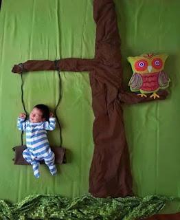 Ideas para fotos de bebés - arbol hamaca