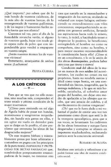 Página de La Voz de la Mujer donde aparece el texto de Rosario de Acuña