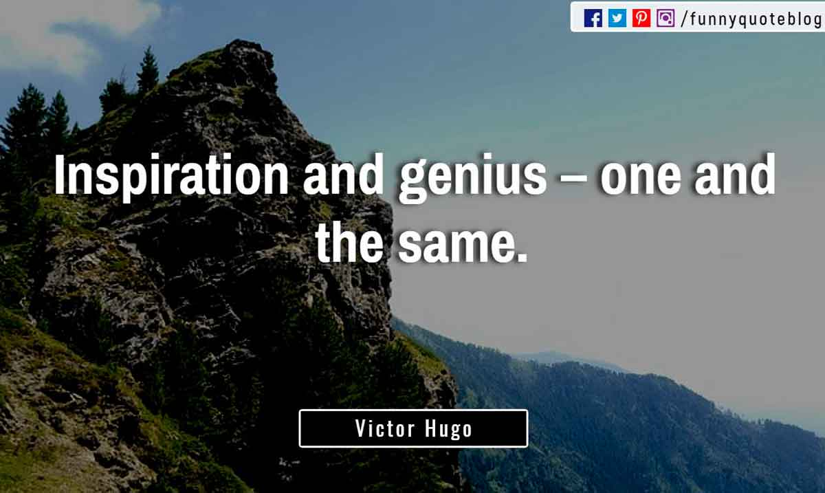 �Inspiration and genius � one and the same.� ? Victor Hugo Quote