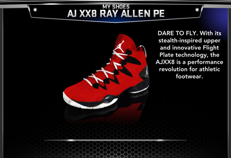 This NBA 2K14 mod adds the Air Jordan XX8 SE sneakers worn by Ray Allen of  the Miami Heat. It will update the PE version of the shoes. 2a4437d4ab9b