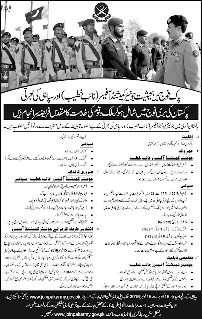 Join Pak Army as Junior Commissioned Officer JCO