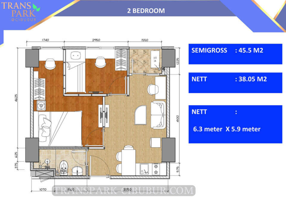 Denah Tipe 2 Bedroom Apartemen TransPark Cibubur