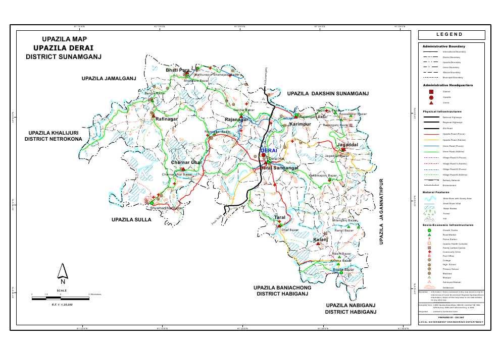 Derai Upazila Map Sunamganj District Bangladesh