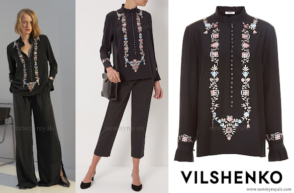 Princess Madeleine wore Vilshenko Silk Border Embroidered Shirt from Resort 2017 Collection