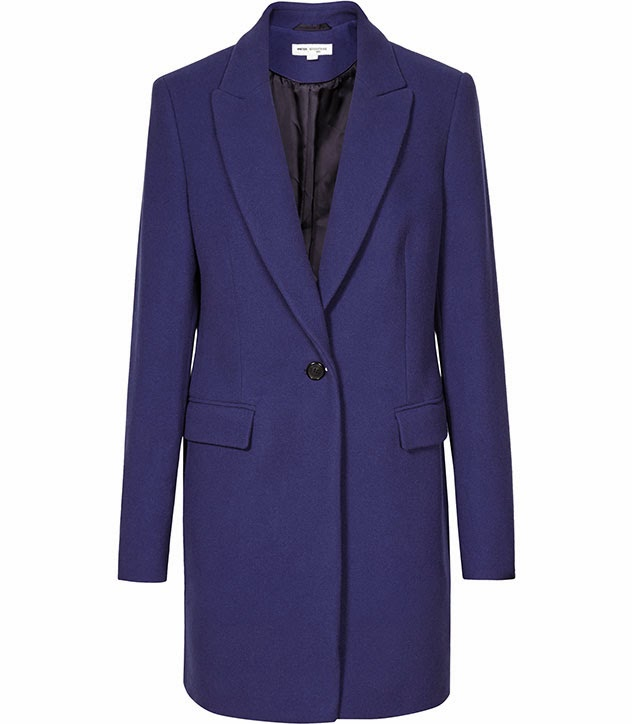 Reiss bright blue long coat
