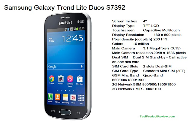 Samsung Galaxy Trend Lite Duos S7392 specs and consumer video review