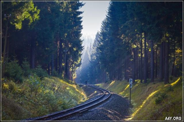 con đường tàu cuối tháng 9 mùa thu