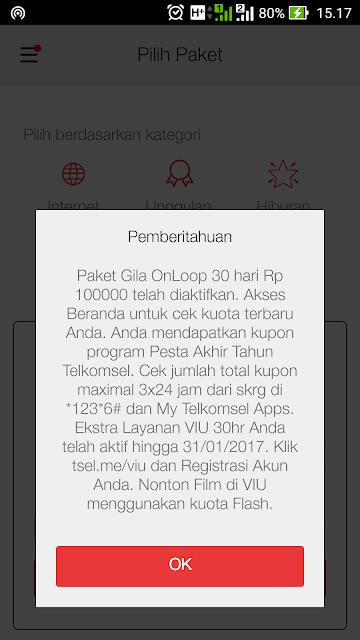 Paket Gila OnLoop 16 GB 30 Hari Rp.100000 telah diaktifkan