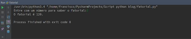 Resultado Script Python fatorial