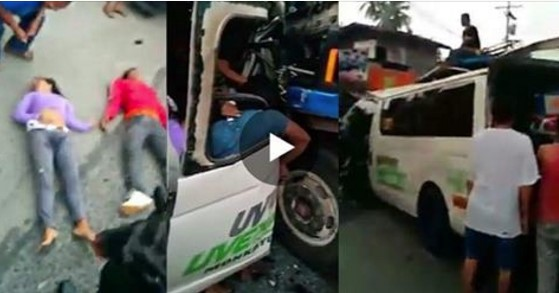 Video: Ten Vans and Trucks Collide in Highway at Davao! Ten were Dead and Six Wounded!