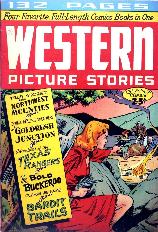 Matt Baker golden age 1940s st john comic book cover - Western Picture Stories / Giant Comics Editions #6