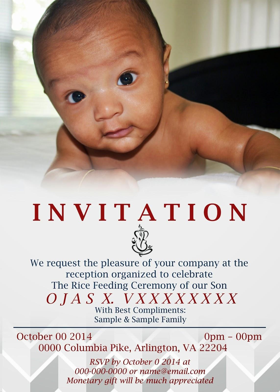 Kulasara 25 Awesome Rice Feeding Invitation Card Sample