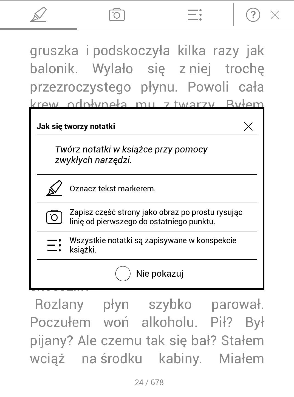okno z instrukcją przy wywołaniu trybu szybkich zaznaczeń - PocketBook TouchHD2