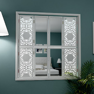 Tier on tier mirror window shutters with Nottingham Lace grilles