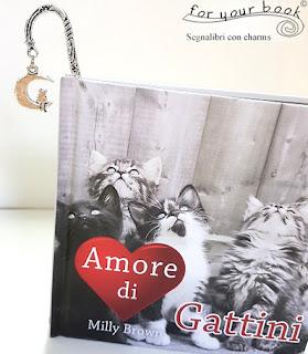 segnalibro metallo ciondolo gatto