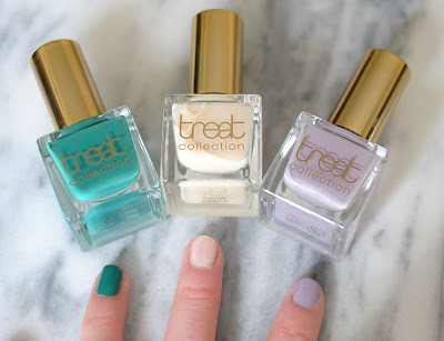 Swatches of Treat Collection Nail Polishes in Outdoors, Snow Drops & Laughing Out Loud