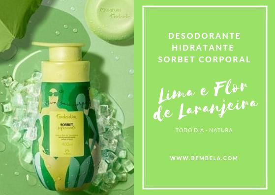 O Desodorante Hidratante Sorbet Corporal Lima e Flor de Laranjeira promete nutrir e hidratar todos os tipos de pele. Possui uma fragrância suave e refrescante, textura leve e absorção é rápida.