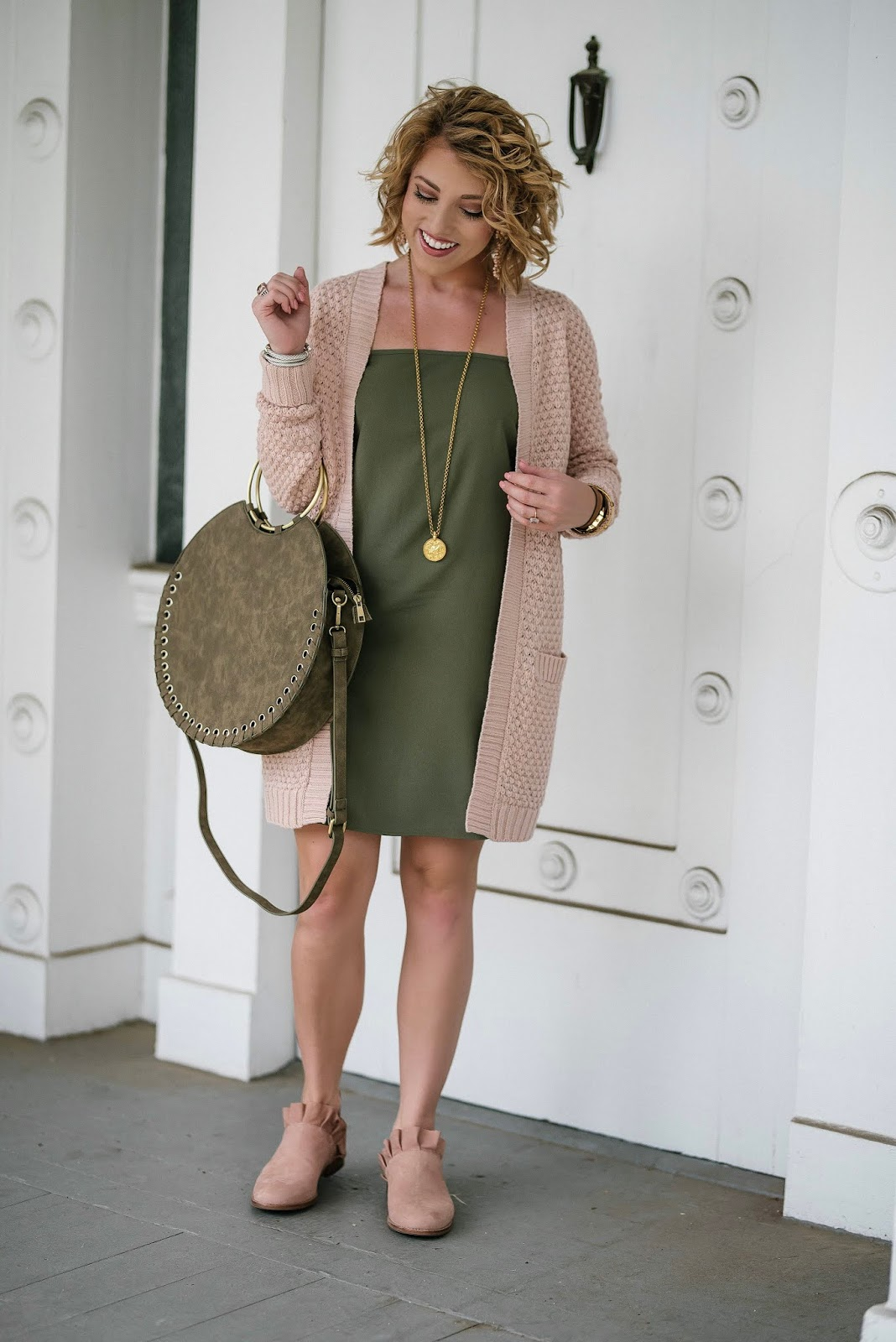 Under $40 Light Pink & $24 Olive Green Dress for Fall - Something Delightful Blog
