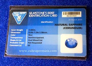 Batu Permata Royal Blue Safir + Memo - ZP 327