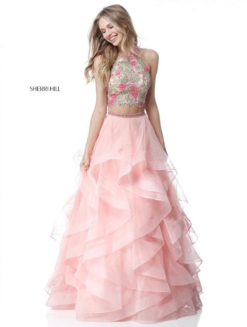 e0988c40456 2018 Sherri Hill 51615 Pink Multi Long Ball Gown