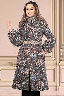 Palton Effect din lana cu imprimeu floral